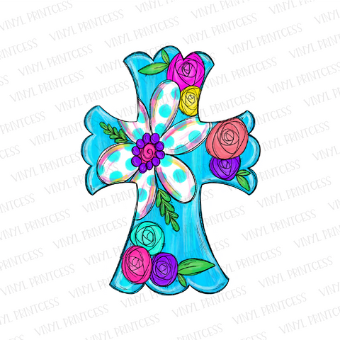 Aqua Floral Cross - Pre-Cut Heat Transfer Decal