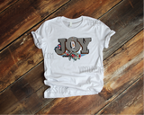 "Joy Gingham Christmas Design - 8"" Pre-Cut Heat Transfer Decal"