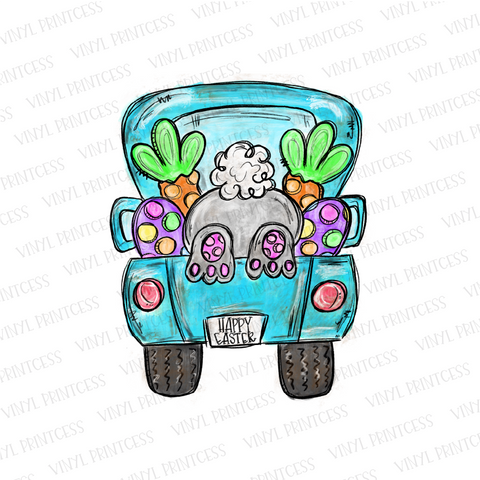 Easter Bunny Truck - Pre-Cut Heat Transfer Decal