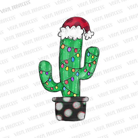 Christmas Cactus HTV Transfer  - Pre-Cut Heat Transfer Decal