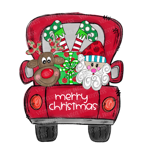 Christmas Truck Transfer  - Santa & Reindeer Pre-Cut Heat Transfer Decal