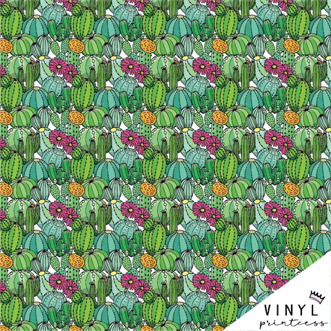 Cactus Patterned Vinyl - Craft Vinyl - Cartoon Style Cactus