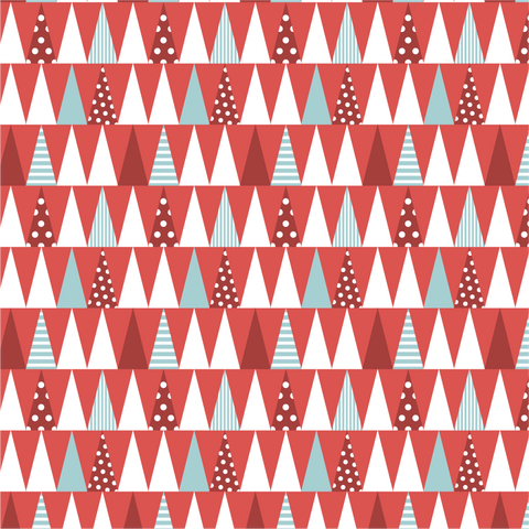 Red Christmas Tree Forest Printed Vinyl - Craft Vinyl