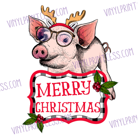 "Christmas Reindeer Piggy Design  - 11"" Pre-Cut Heat Transfer Decal"