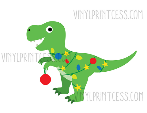 Christmas T-Rex - Pre-Cut Heat Transfer Decal