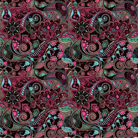 Dark Pink Paisley Patterned Vinyl