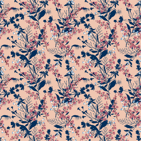 Dark Navy and Coral Floral Printed Vinyl