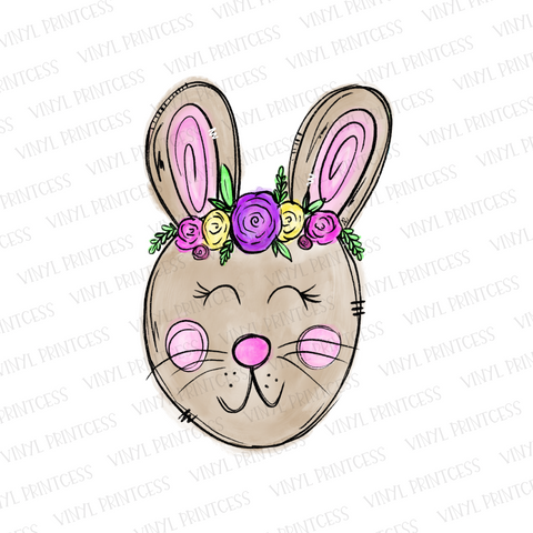 Easter Bunny with Floral Crown - Pre-Cut Heat Transfer Decal