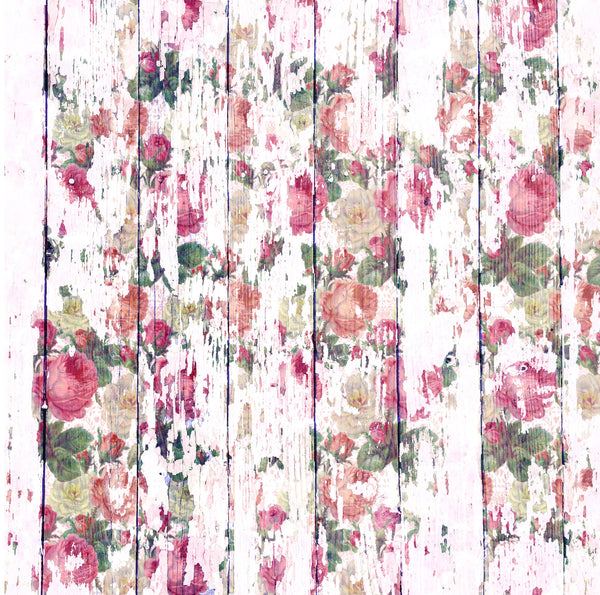 Floral Whitewashed Wood Printed Vinyl