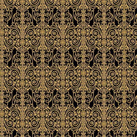 Gold and Black Damask Printed Vinyl