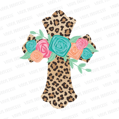 Leopard Floral Cross - Pre-Cut Heat Transfer Decal