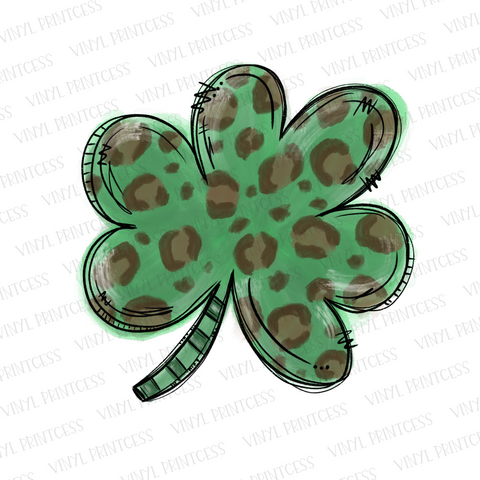 St. Patrick's Day Leopard Shamrock - Pre-Cut Heat Transfer Decal