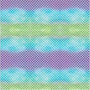 Mermaid Scales - Small Scale Purple, Teal & Green Ombre Printed Craft Vinyl
