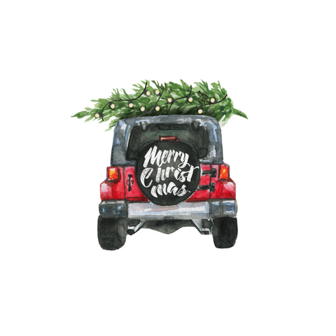 Merry Christmas Jeep Transfer - Pre-Cut Heat Transfer Decal
