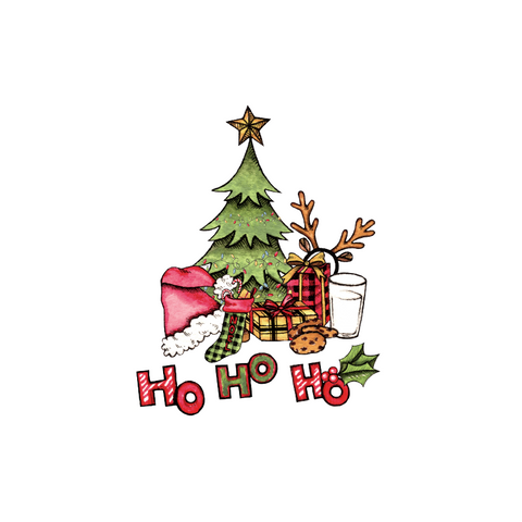 Old Fashioned Christmas Tree Transfer - Pre-Cut Heat Transfer Decal