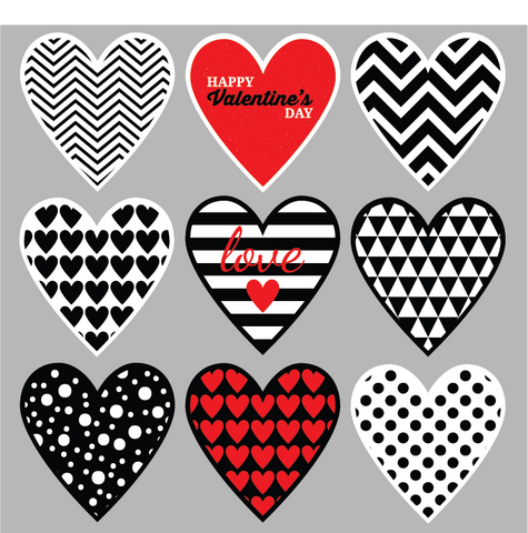 Valentine's Day Decals, Printed and Pre-Cut, Sheet of 9