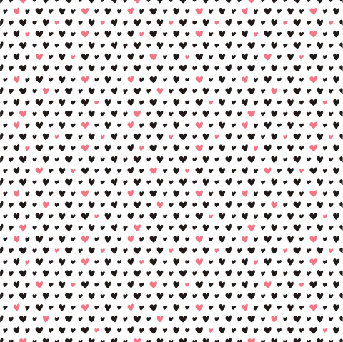 Pink & Black Mini Hearts Printed Vinyl