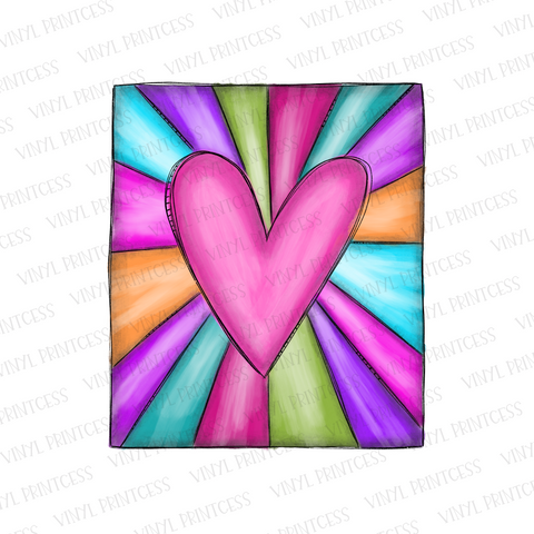 Valentine's Day Heart Sunburst - Pre-Cut Heat Transfer Decal