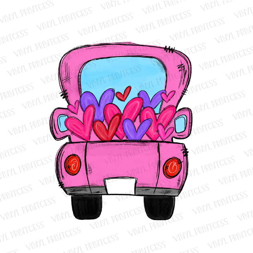 Valentine's Day Pink - BLANK Tag - Hearts Truck - Pre-Cut Heat Transfer Decal