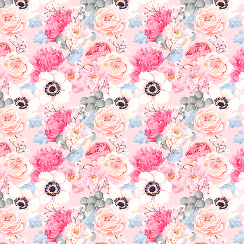 Pink Peony Floral Patterned Vinyl - Craft Vinyl