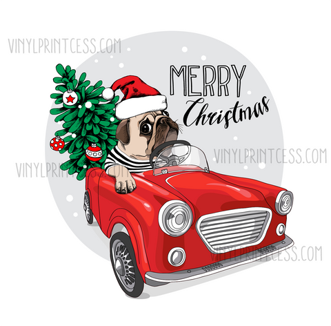 Pug in A Truck Christmas Design  - Pre-Cut Heat Transfer Decal