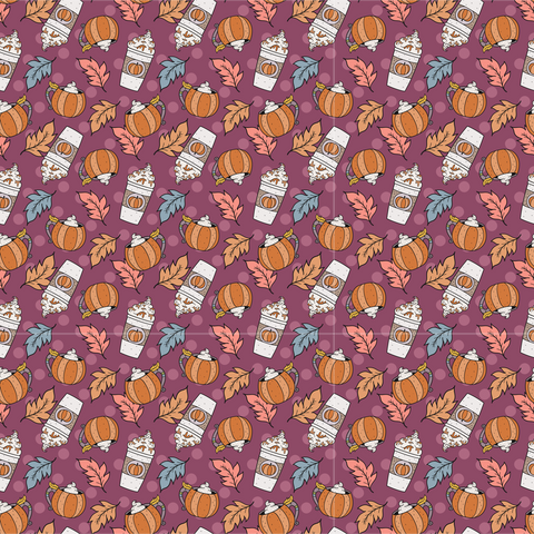 Pumpkin Spice Autumn Pattern Printed Vinyl