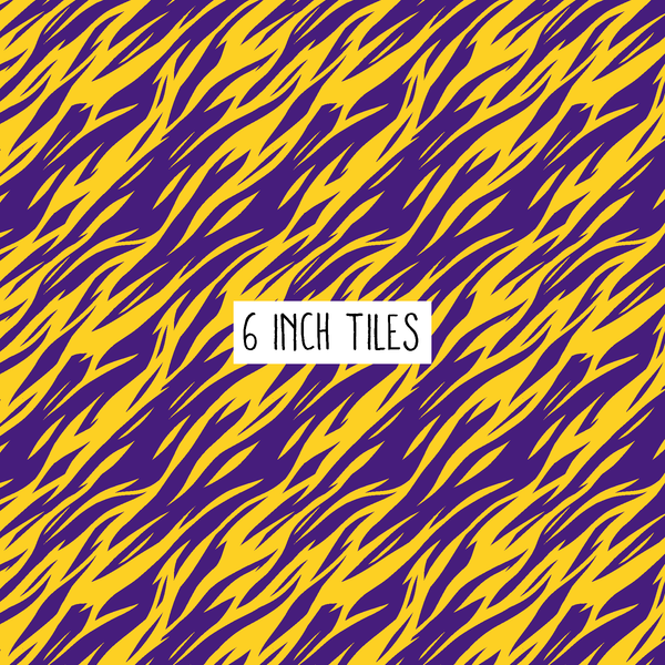 Purple & Gold Tiger Stripes Printed Vinyl - Adhesive or Heat Transfer