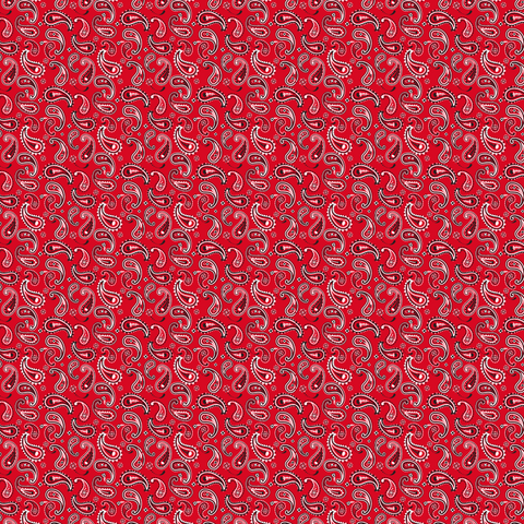 Bright Red Bandana Paisley Printed Vinyl - Craft Vinyl