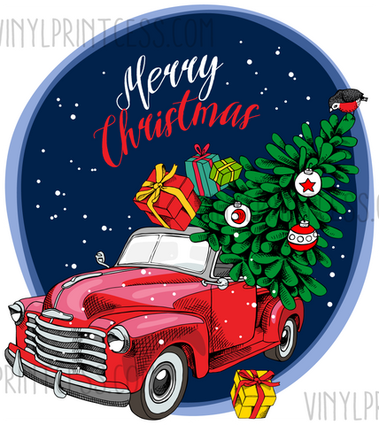Red Truck Merry Christmas on Blue Design  - Pre-Cut Heat Transfer Decal