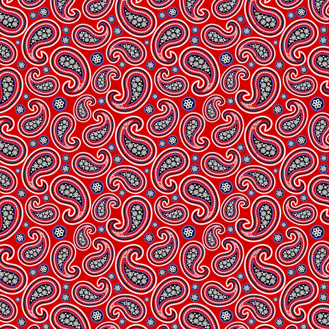 Red Bandana # 2 Paisley Patterned Vinyl - Craft Vinyl