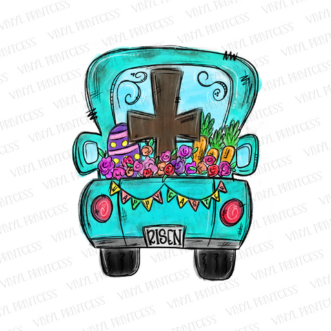 Easter Cross Risen Truck - Pre-Cut Heat Transfer Decal