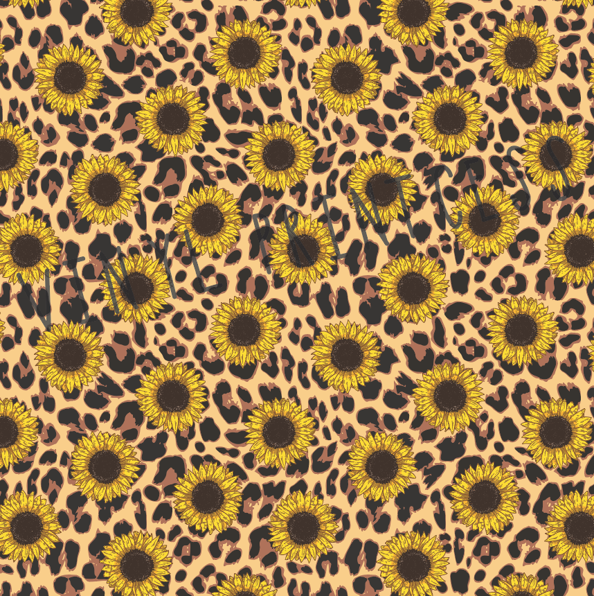 Sunflowers with Leopard Cheetah Printed Vinyl - Craft Vinyl