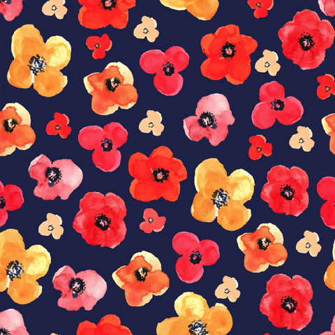 Navy Floral Watercolor Printed Vinyl - Seamless