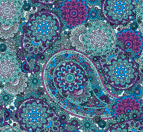 Blue & Purple Paisley Printed Vinyl - Seamless