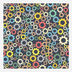 Colorful Gears Patterned Craft Vinyl - Seamless