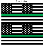 Thin Green Line Square Flag Printed Vinyl