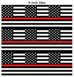Thin Red Line Square Flag Printed Vinyl