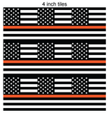 Thin Orange Line Square Flag Printed Vinyl