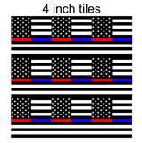 Thin Red and Blue Lines Square Flag Printed Vinyl
