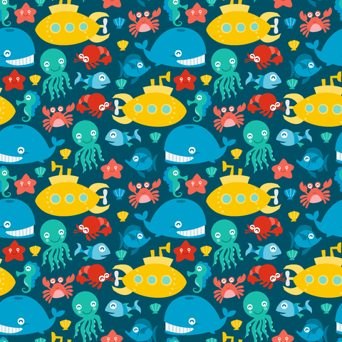 Sea Creatures Patterned Vinyl - Craft Vinyl - Printed Adhesive 651 and Heat Transfer HTV