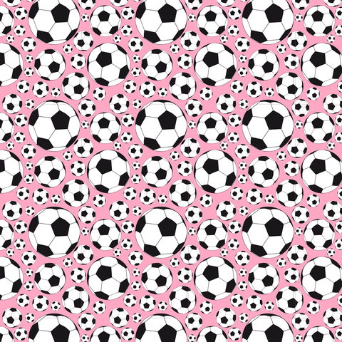 Soccer Balls on Pink Printed Vinyl