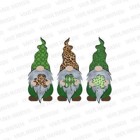 St. Patrick's Day Gnomes - Pre-Cut Heat Transfer Decal