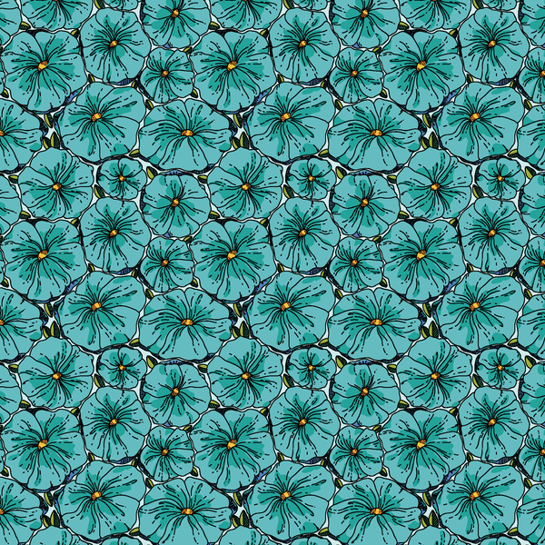 Teal Floral Patterned Vinyl - Craft Vinyl - Printed Adhesive 651 and Heat Transfer HTV