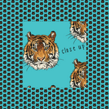 Tigers on Teal Patterned Vinyl - Craft Vinyl