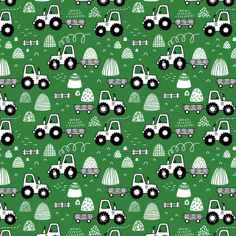 Green Tractors Patterned Vinyl - Craft Vinyl