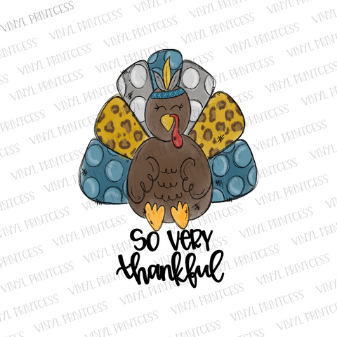 Thankful Turkey Thanksgiving HTV Transfer  - Pre-Cut Heat Transfer Decal
