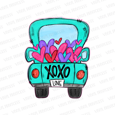 Valentine's Day Aqua XOXO Hearts Truck - Pre-Cut Heat Transfer Decal