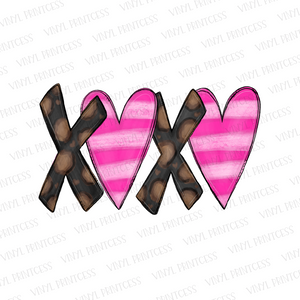 Valentine's Day XOXO Leopard and Stripes - Pre-Cut Heat Transfer Decal