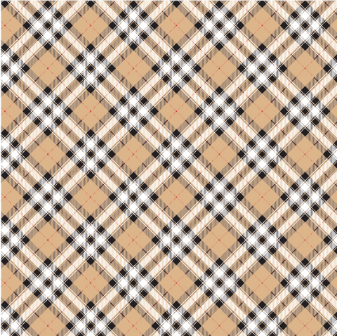 Beige Plaid Pattern Printed Vinyl