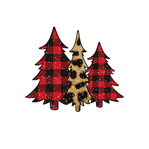 Buffalo Plaid and Leopard Christmas Trees Transfer - Pre-Cut Heat Transfer Decal